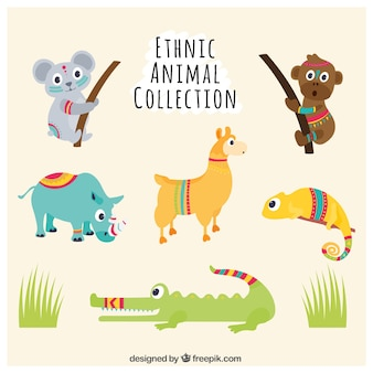 Set of funny hand-painted animals with ethnic details