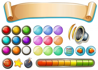 Set of game elements with banner and buttons