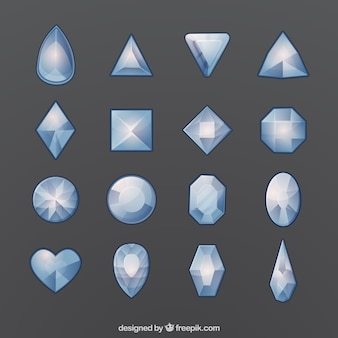 Set of gemstones with different kind of designs