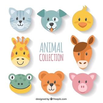 Set of geometric animal's faces