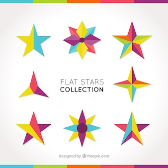 Set of geometric colorful star shapes