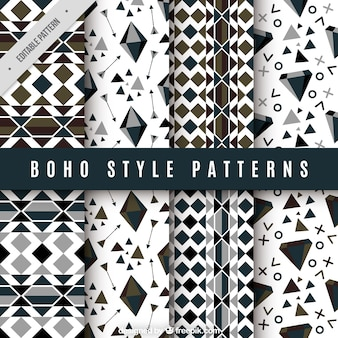 Set of geometric patterns in boho style