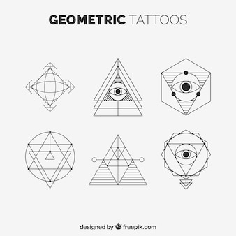 Set of geometric tattoos with triangles