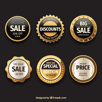 Set of gold sale stickers