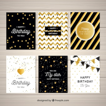 Set of golden abstract birthday greetings