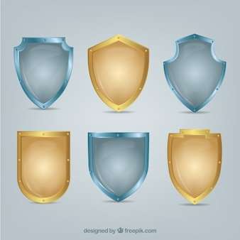 Set of golden and silver shields