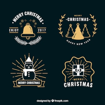 Set of golden christmas badges