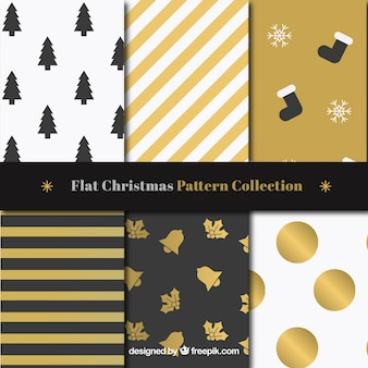 Set of golden christmas patterns