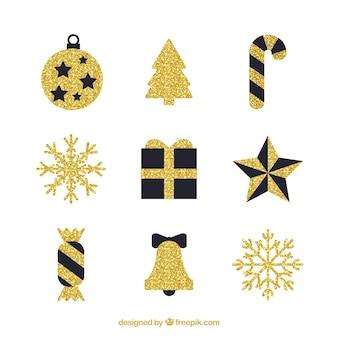 黄金の装飾的なクリスマスの要素のセット