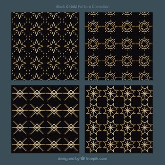 Set of golden geometric patterns