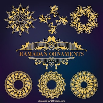 Set of golden ramadan ornaments