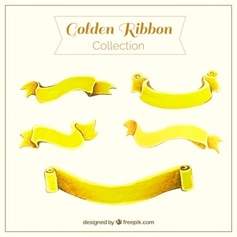 Set of golden ribbon with fantastic designs
