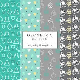 Set of gray and green patterns with naviad elements