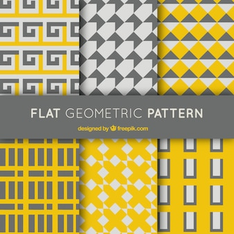 Set of gray and yellow geometric patterns