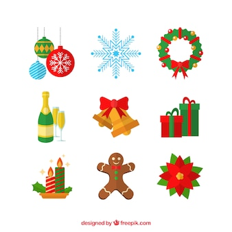 Set of great christmas elements in flat style
