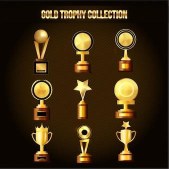 Set of great golden trophies