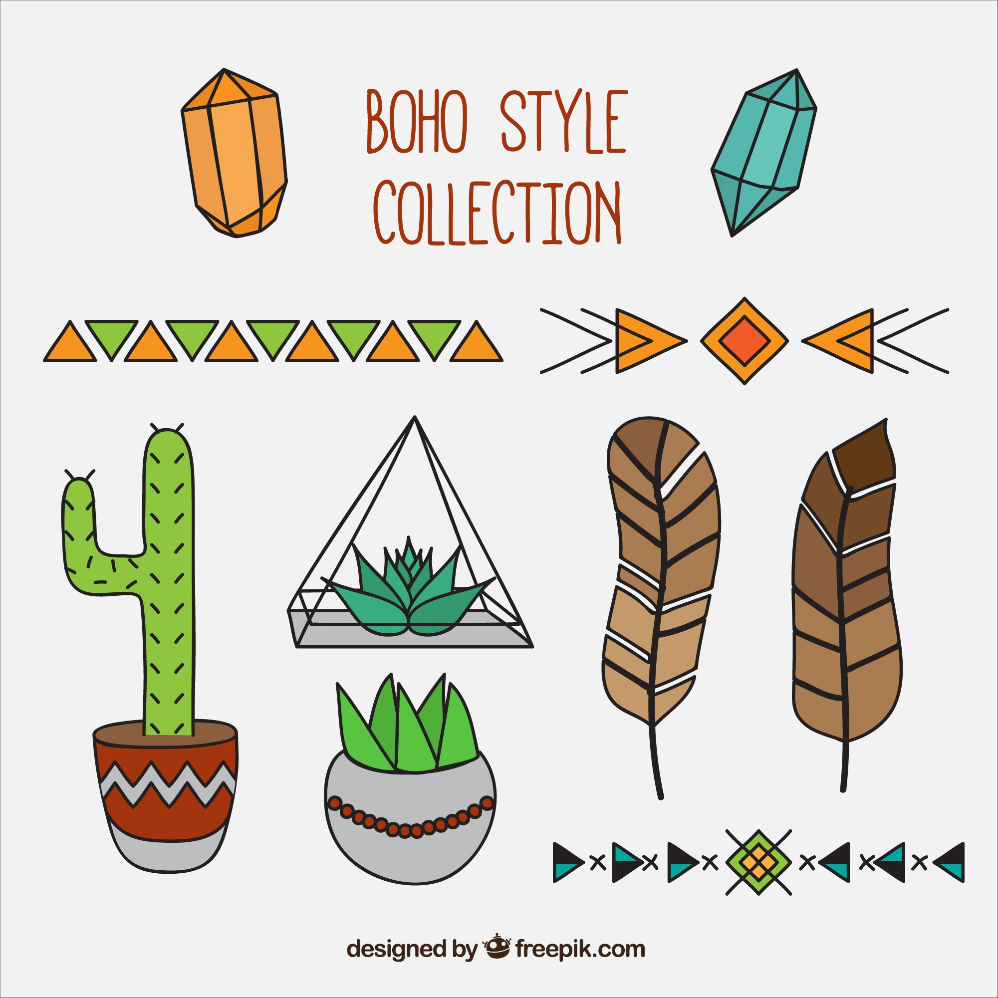 Set of great objects in boho style