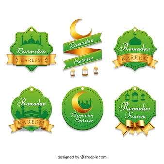 Set of green and golden ramadan stickers