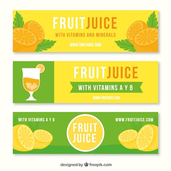 Set of green and orange fruit juice banners