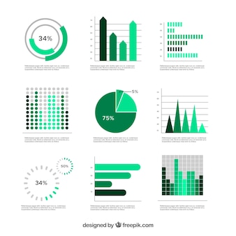 Set of green graphics in flat design