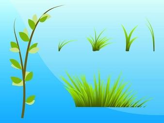 Set of green grassy