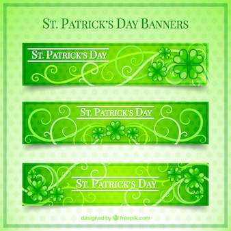 Set of green ornamental banners