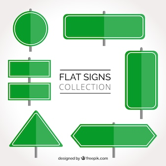 Set of green traffic signs in flat design