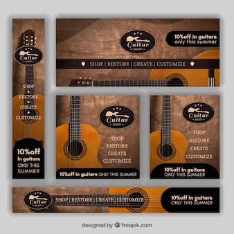 Set of guitar banners