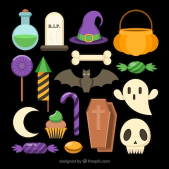 Set of halloween accessories and candies