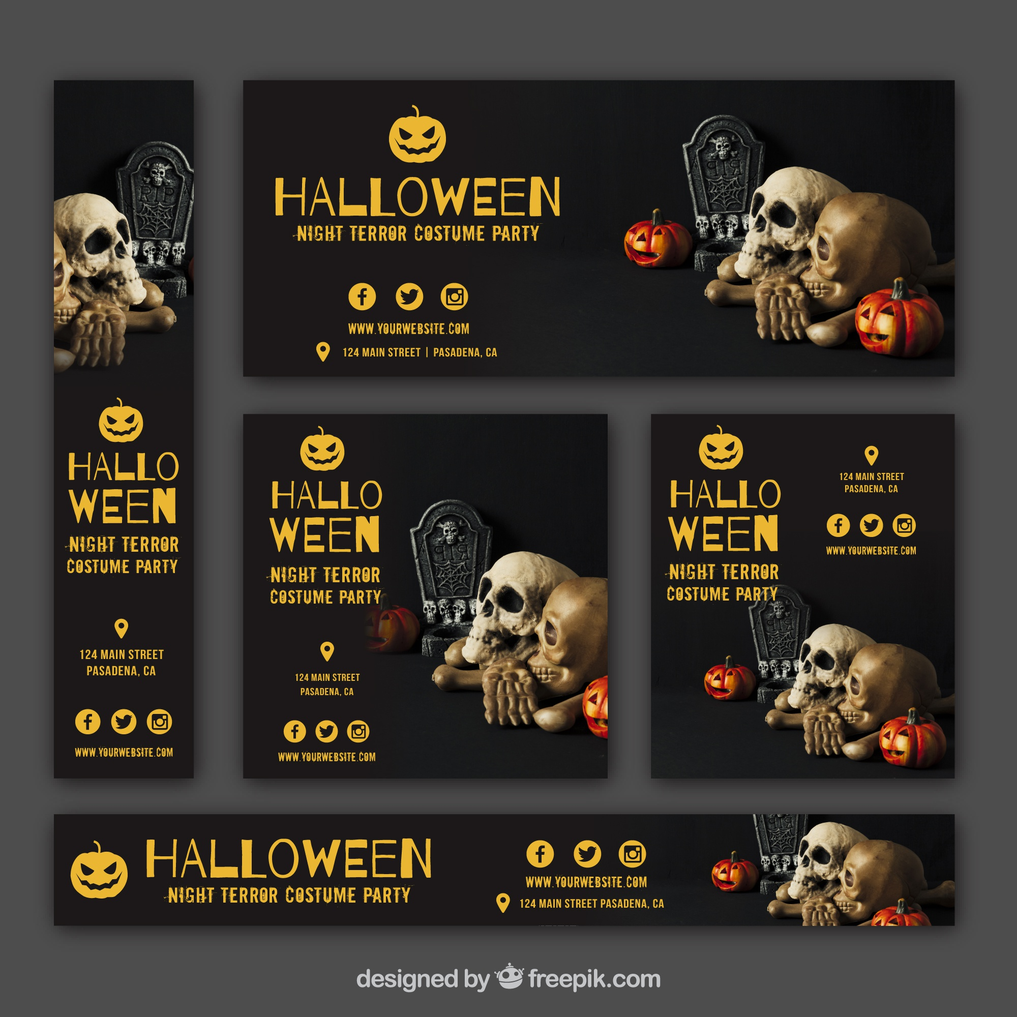 Set of halloween party banners