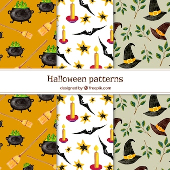 Set of halloween patterns with watercolor elements