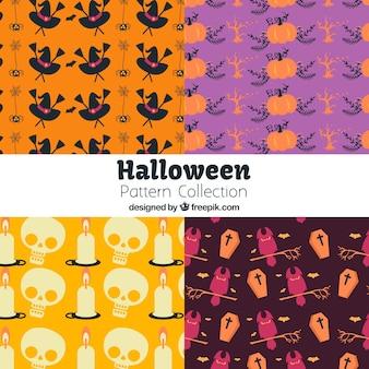 Set of halloween patterns