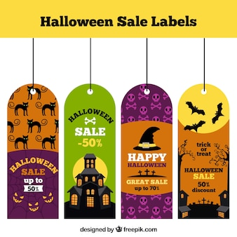 Set of halloween sale tags in flat design
