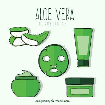 Set of hand-drawn aloe vera products