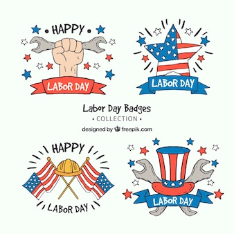 Set of hand drawn american labor day badges