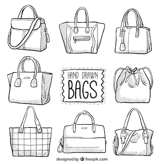 Set of hand-drawn bags