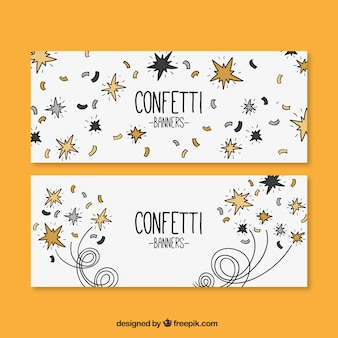 Set of hand-drawn banners with confetti