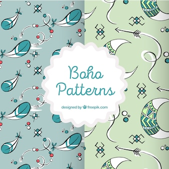 Set of hand drawn boho patterns