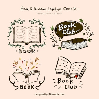 Set of hand drawn book logos
