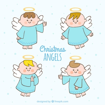 Set of hand drawn christmas angels