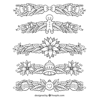 Set of hand drawn christmas decorative borders
