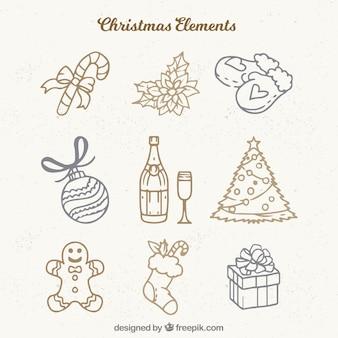 手描きのクリスマスの要素のセット