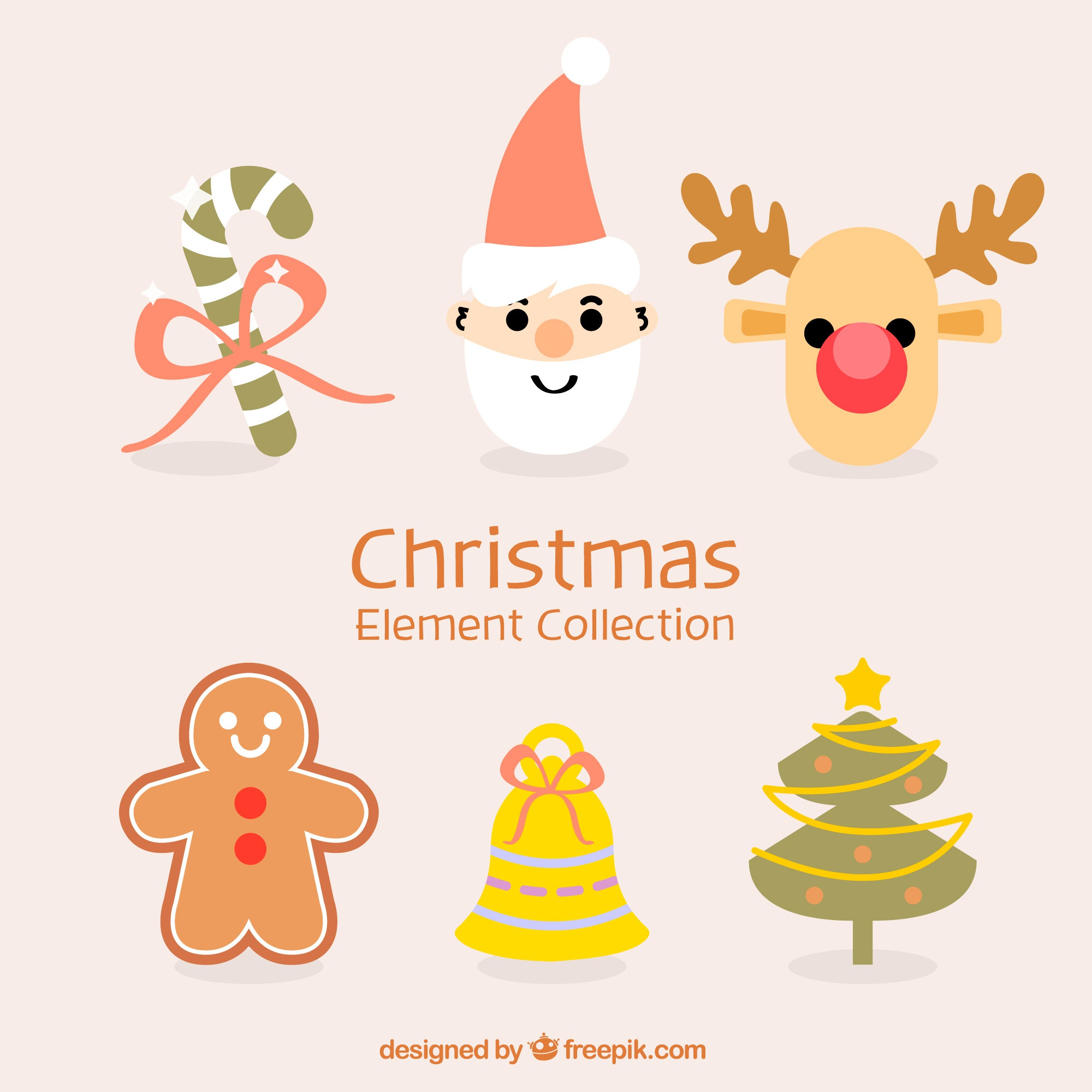 Set of hand drawn christmas objects
