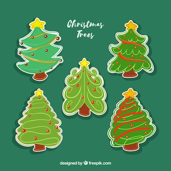 Set of hand drawn christmas tree stickers