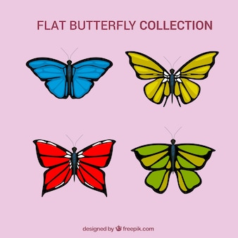 Set of hand drawn colored butterflies
