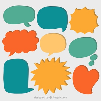Set of hand drawn colored speech bubbles