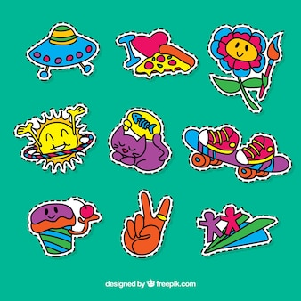 Set of hand-drawn colorful stickers