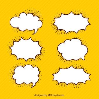 Set of hand drawn comic speech bubbles
