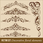 Set of hand drawn decorative vector floral elements for design Page decoration element