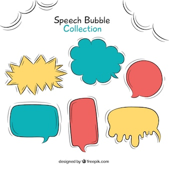 Set of hand drawn dialog balloons
